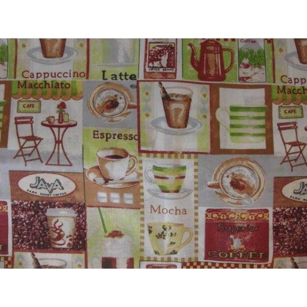 Látka na patchwork hnědá kávy čtverce cappuccino latte espresso mocha konvice java