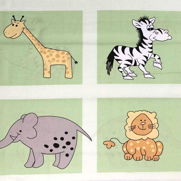 Dětská látka plátno zvířátkové zoo zebra slon lev žirafa světle zelená