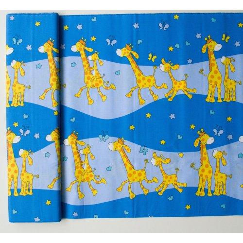Dětská bavlna metráž žirafy na modré