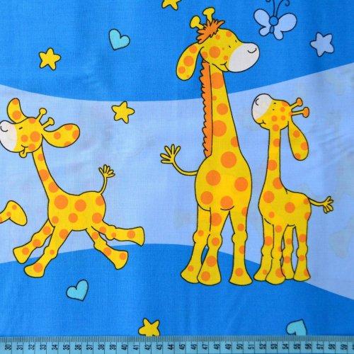 Látka dětský vzor na povlečení žirafy na modré
