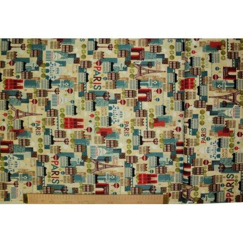 Látka dovozová 100 bavlna metráž amerika eiffelovy věže a pařížské domy