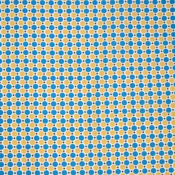 Zahraniční látka 100 balvna modrý a hnědý puntík na bílé