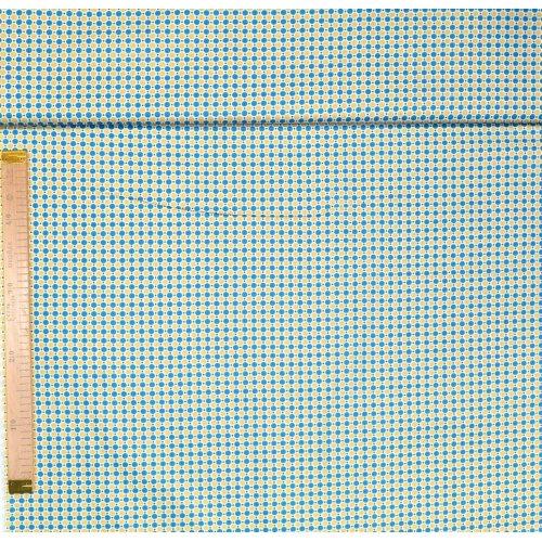 Bavlněná látka široká na povlečení a patchwork modrý a hnědý puntík na bílém podkladu
