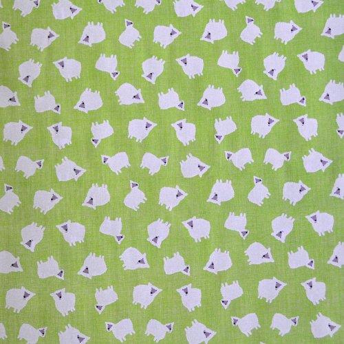 Bavlněná látka s kreslenými ovečkami na zelené