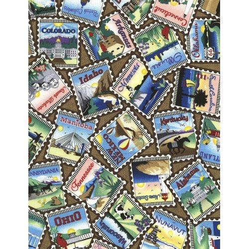 Bavlněná látka dovoz amerika poštovní známky hnědá