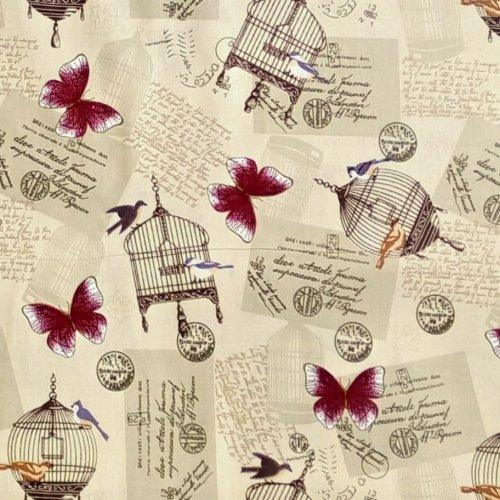Látka bavlněné plátno béžová vínoví motýlci klece klícky ptáčci