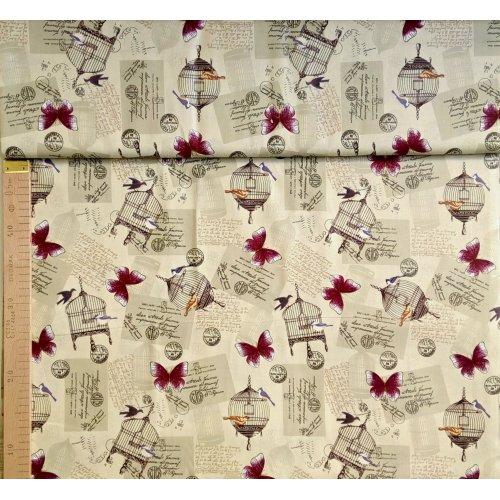 Dovozová látka 100 bavlna na zástěry patchwork béžová s motýli ptáčky klecemi vintage styl