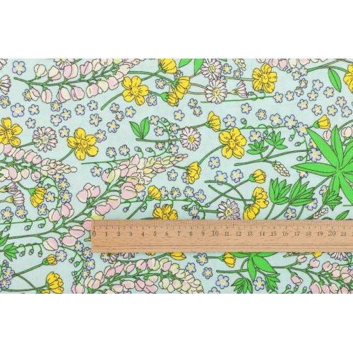 Plátno metráž 100 bavlna pastelové barvy bylinky květiny na tyrkysové na polštáře a povlečení
