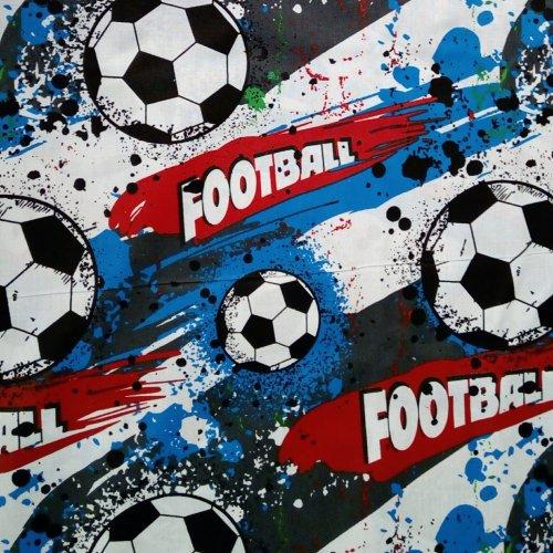 Bavlněná látka dovoz dětský fotbal míč football červená bílá modrá na povlečení