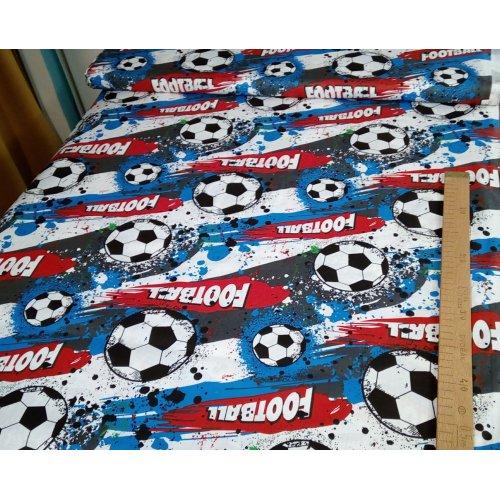 Bavlněná látka plátno dovozové 100 bavlna fotbalový míč kopačák hra zápas barevné na závěsy