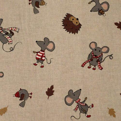 Dekorační látka dovozová ježek myš listí podzim listopad režná šála teplé oblečení
