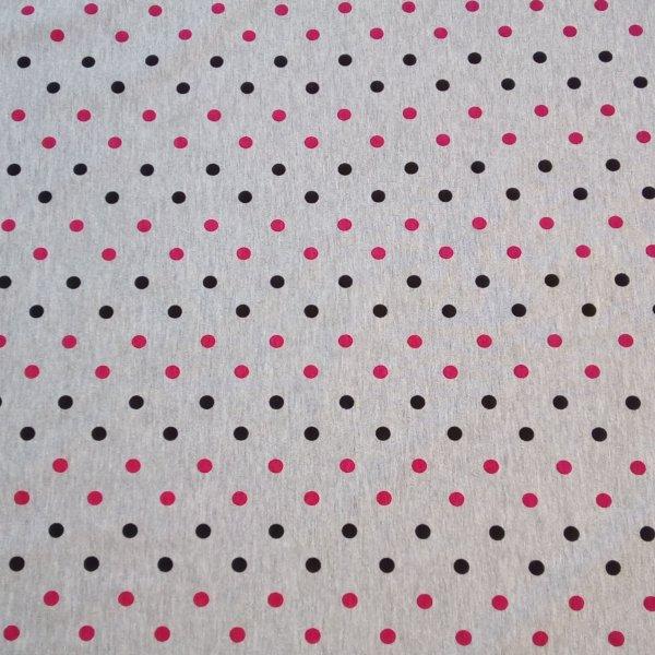 Bavlněná metráž jersey jednolíc šedá červná červená tečky puntíky na šití triček