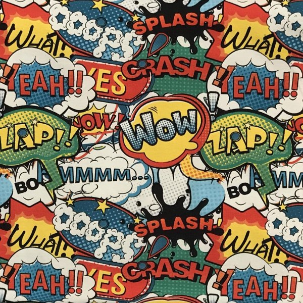 Elastický úplet metráž komiksové hlášky bubliny wow zap crash splash zap eah na světlé bílé