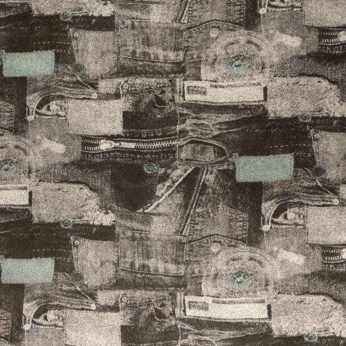 Elastická látka teplákovina počesaná šedý podklad vzor džínů jeanů riflí denim