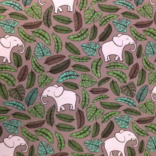 Tenká teplákovina metráž kreslení sloni lístky listí zelené na šedé indie